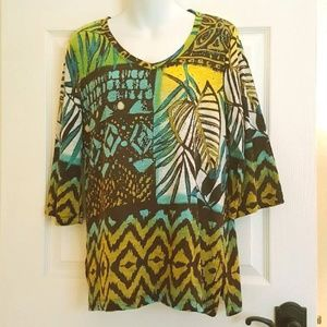 Onque Casual Top with 3/4 Sleeves Size S NWT